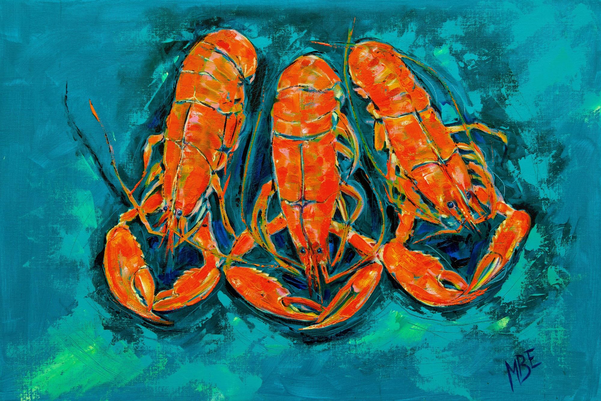 Three Lobsters on cloth